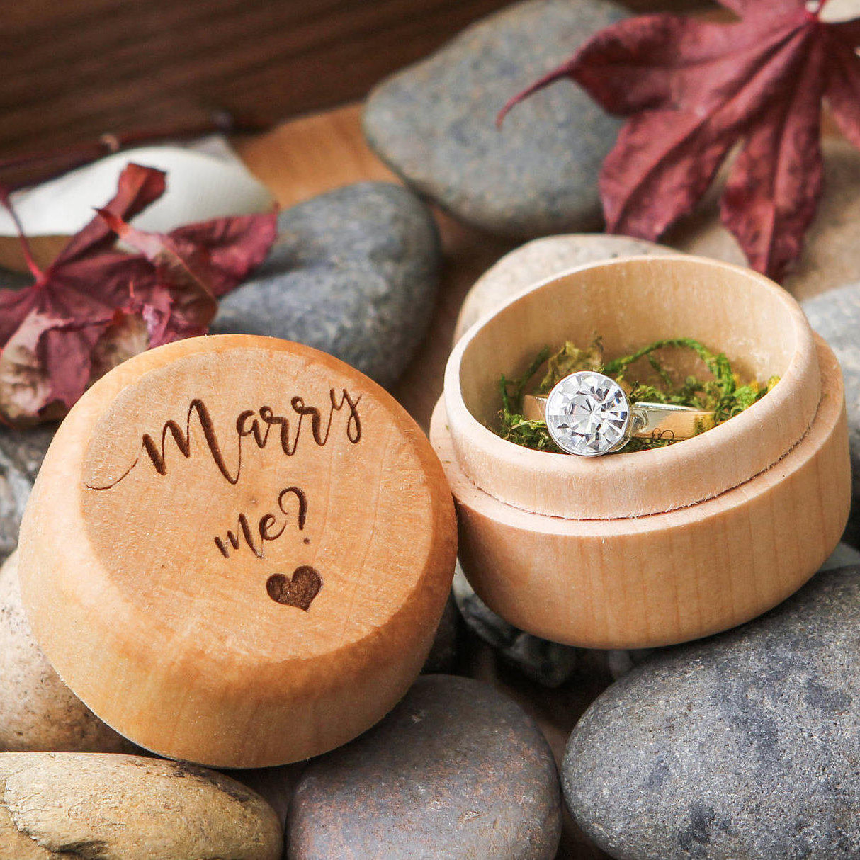 Wood Ring Box w/ Moss- Wedding Ring Box – MUUJEE