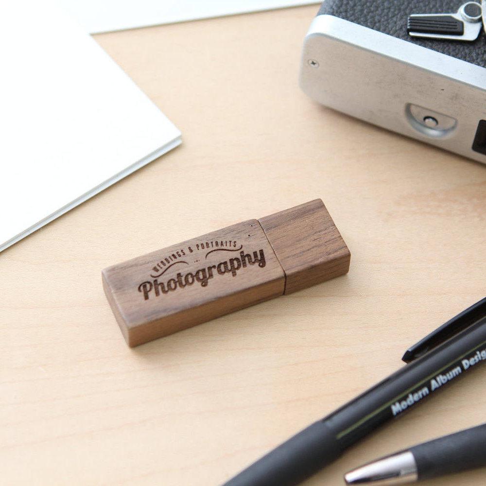 Engraved Walnut Wood Box Amp Thin Usb Flash Drive Set Muujee