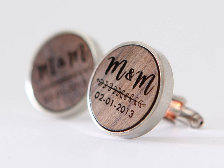 Engraved Walnut Cufflinks – Custom Monogram Cuff links