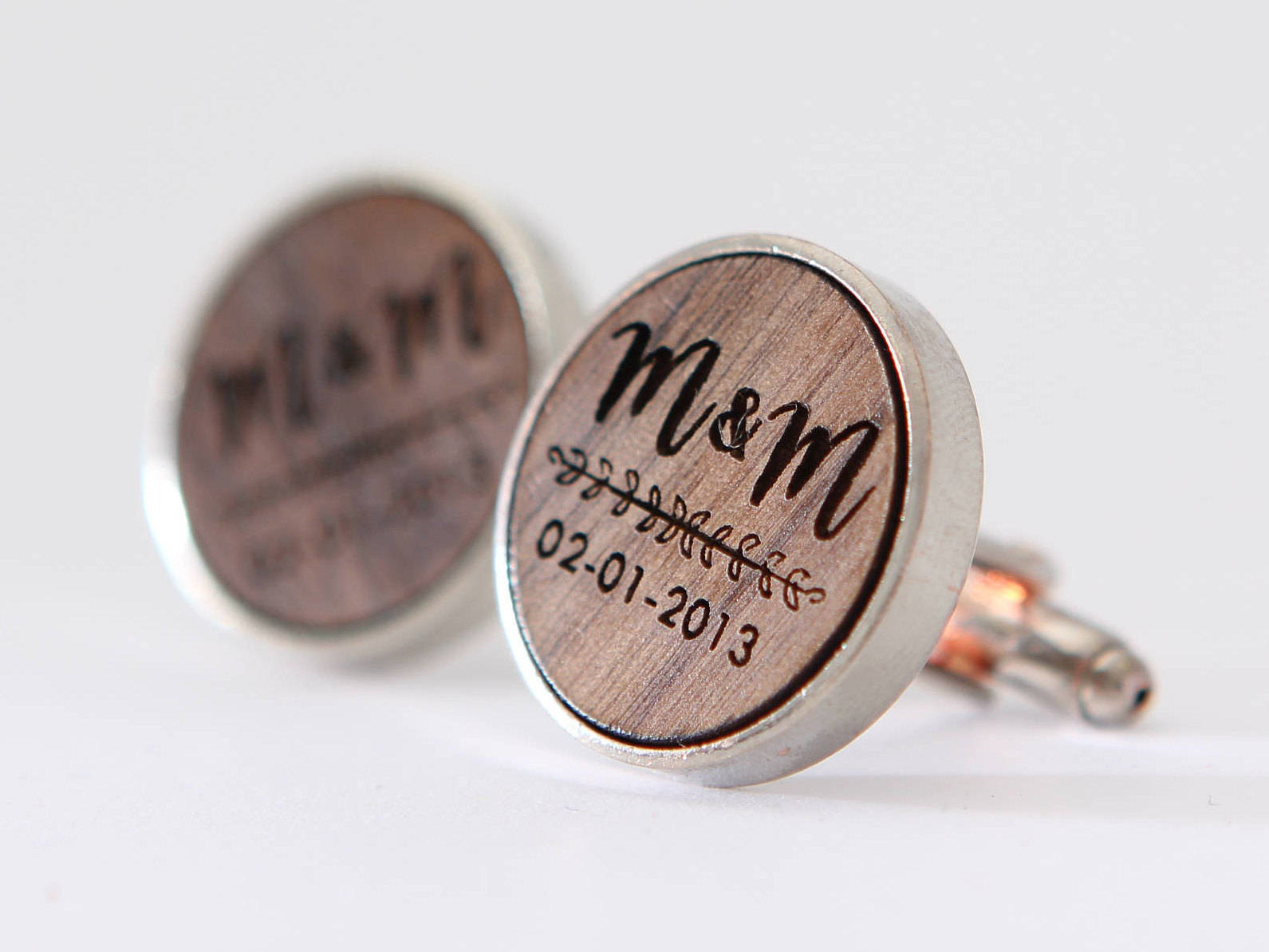 Engraved Walnut Cufflinks Custom Monogram Cuff Links Muujee