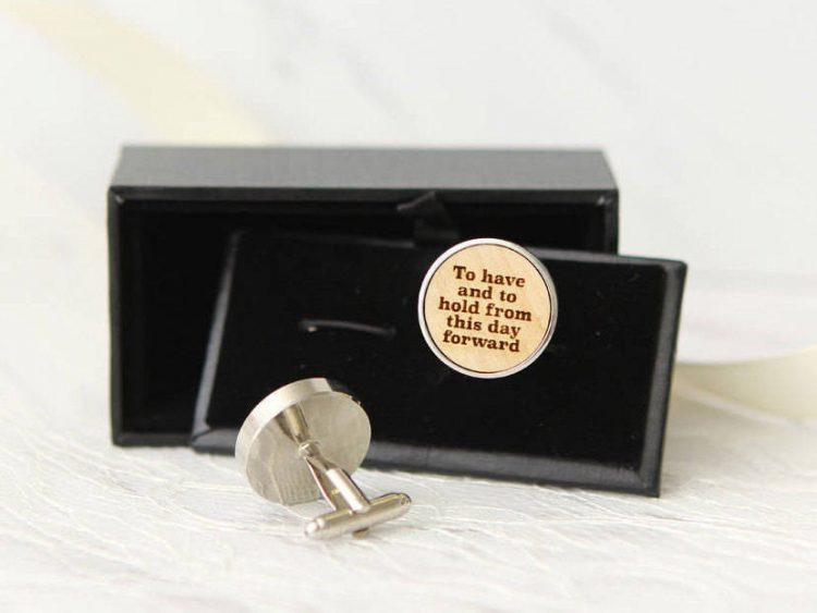 Vows or Messages Engraved on Wood Cuff links