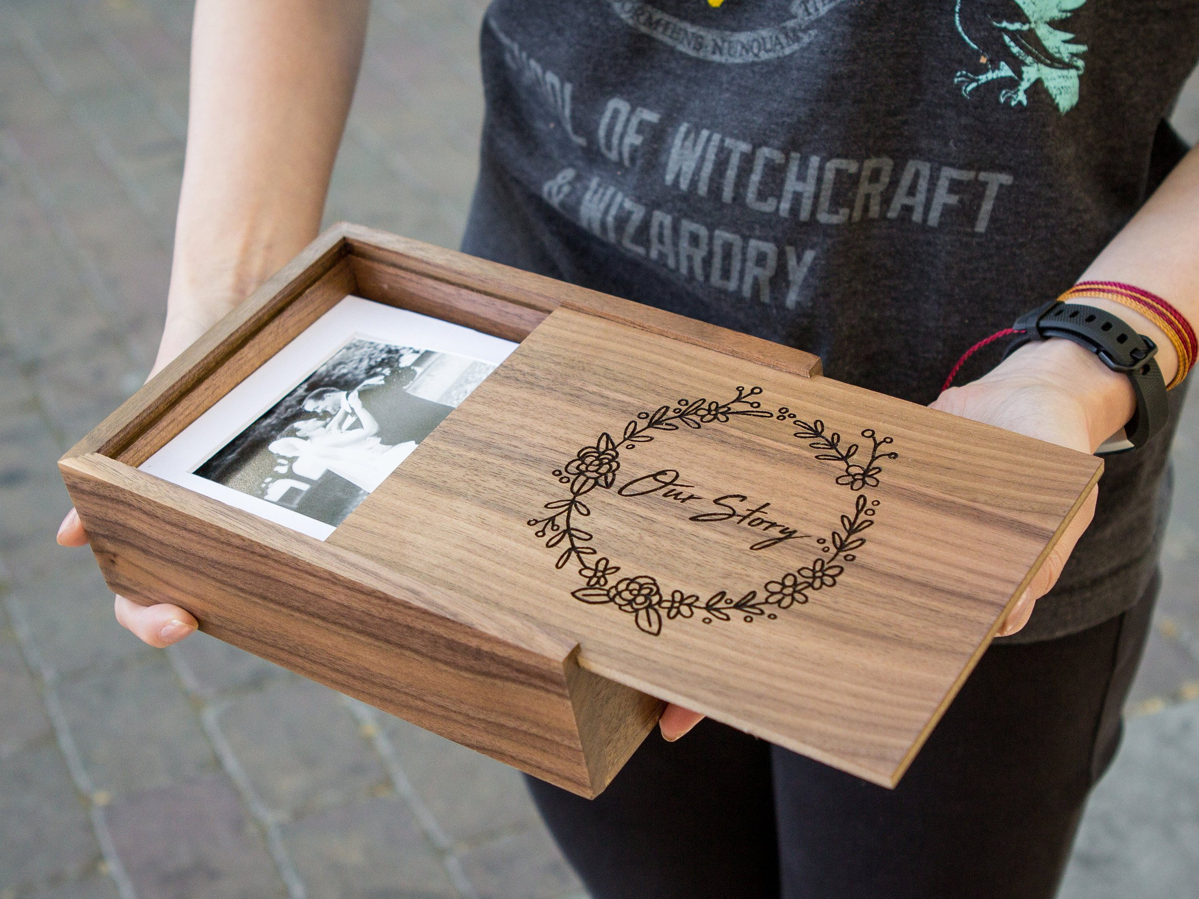 "Wedding Gifts Boxes: 5×7"" Wood Memory Box"