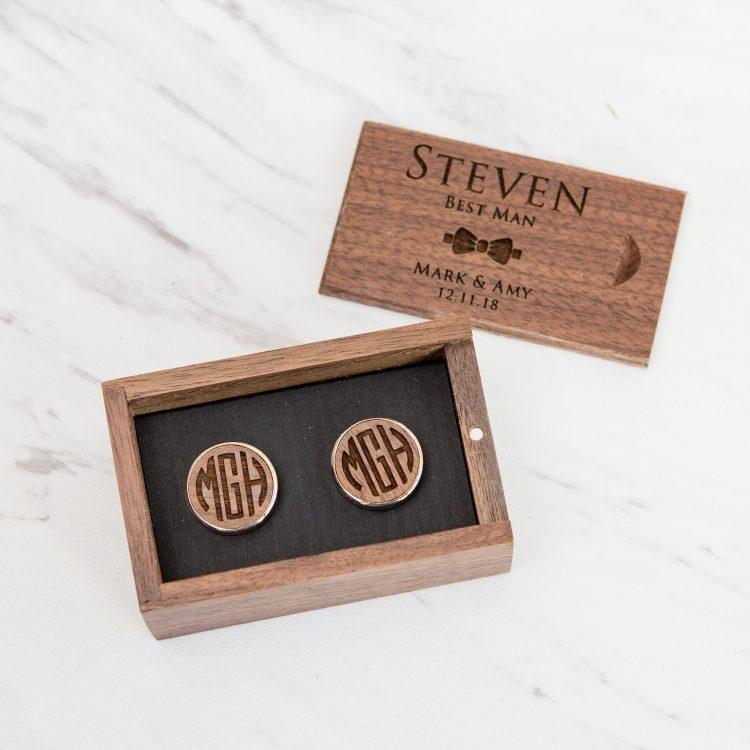 Walnut Wood Cufflinks with Engraved Gift Box Set