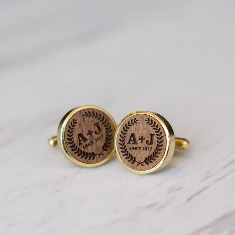Engraved Walnut Wood with Gold Trim Cufflinks