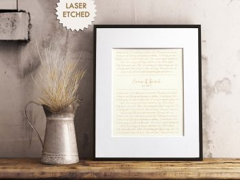 6795fd25952a 1st Anniversary Paper Gift – Laser Etched Wedding Vows or First Dance  Lyrics Song
