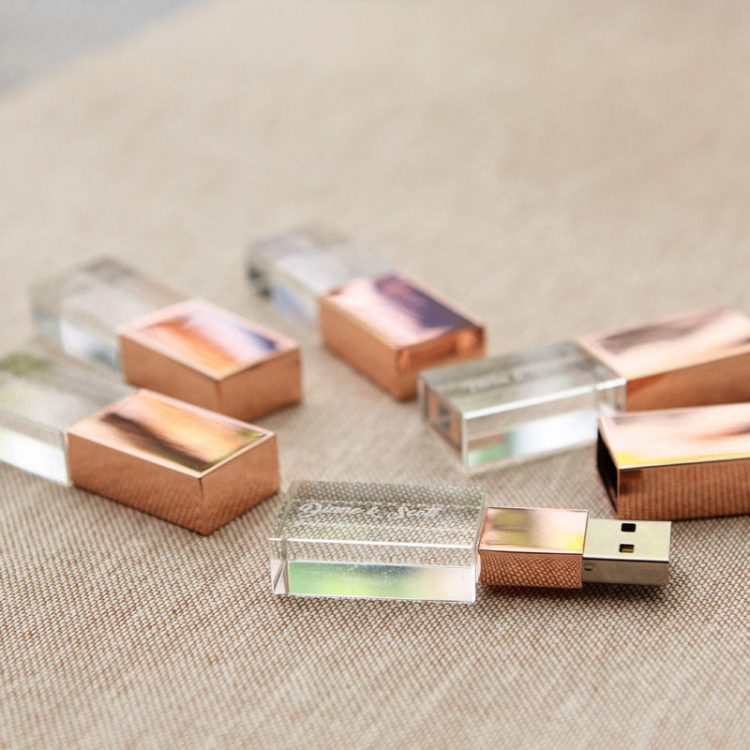 10-PACK Crystal USB Drives – Rose Gold or Gold Crystal Glass USB Flash Drive