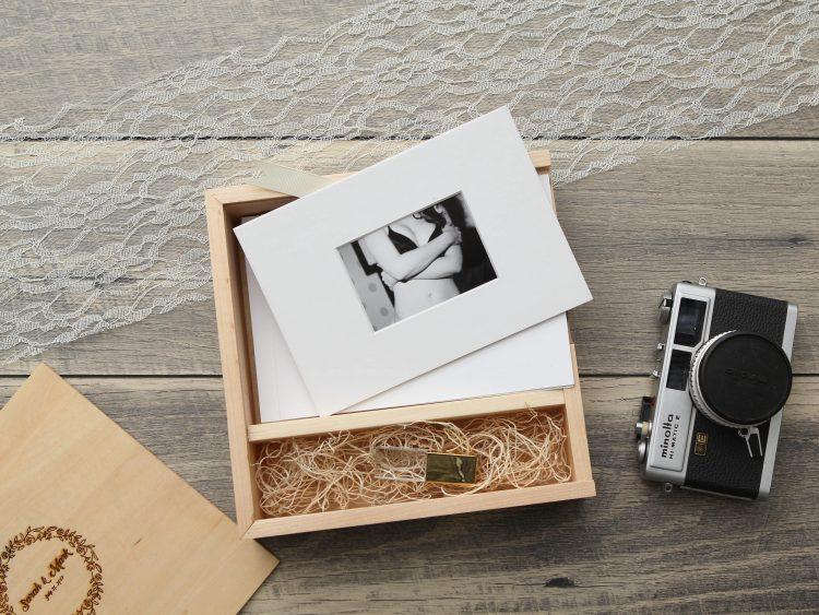 "4×6"" Maple Wood USB and Photo Box (Custom Laser Engraving, USB Optional)"