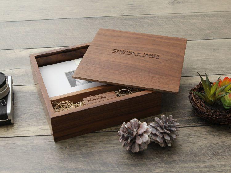 "4×6"" Walnut Wood USB and Photo Box (Custom Laser Engraving, USB Optional)"