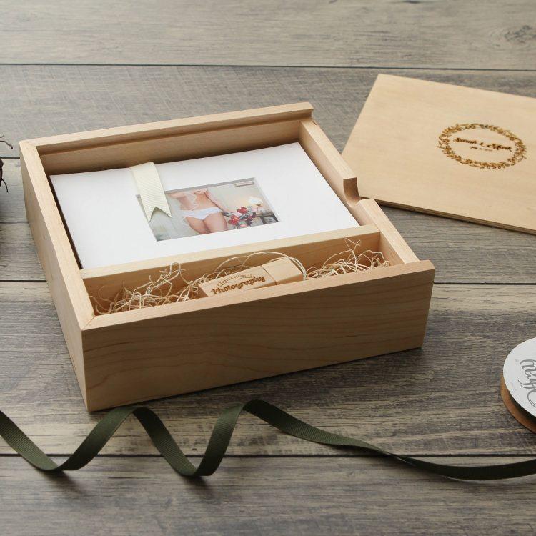 "5×7"" Maple Wood USB & Photo Box (Custom Laser Engraving Included, USB Optional)"