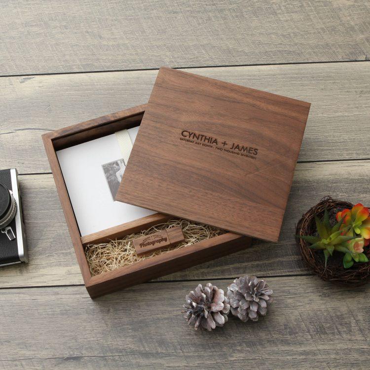 "5×7"" Walnut Wood USB & Photo Box (Custom Laser Engraving, USB Optional)"