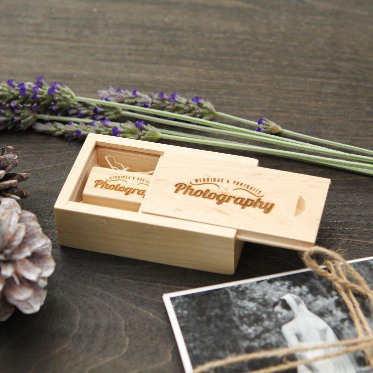 Engraved Maple Wood Box & Thin USB Flash Drive Set