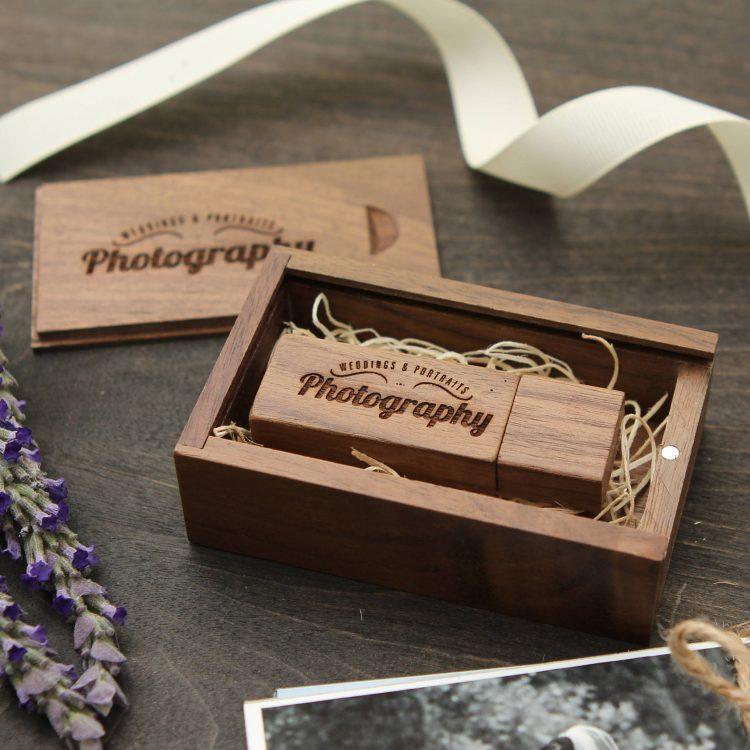 Engraved Walnut Wood Box & Thin USB Flash Drive Set