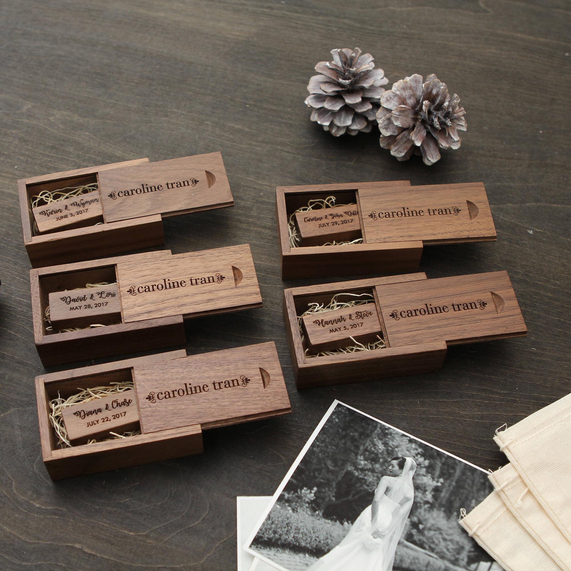 Engraved Walnut Wood Box Thin Usb