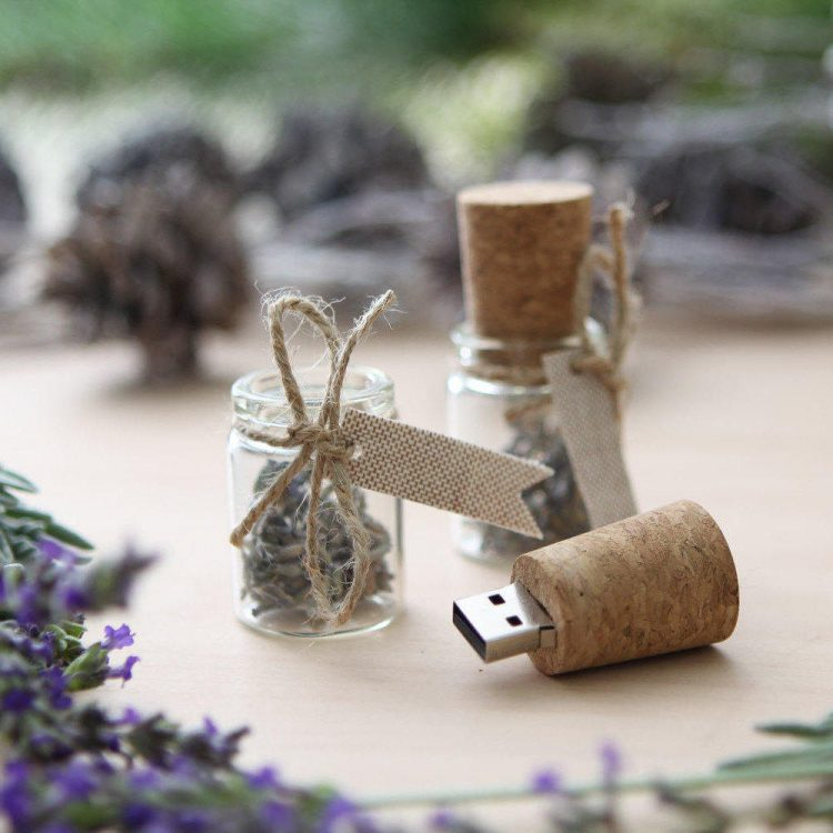 Glass Message in a Bottle USB Flash Drive with Lavender