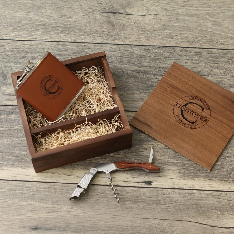 Engraved Wood Groomsmen Gift Box Set – Cork Screw – Engraved Flask – Leather Wallet