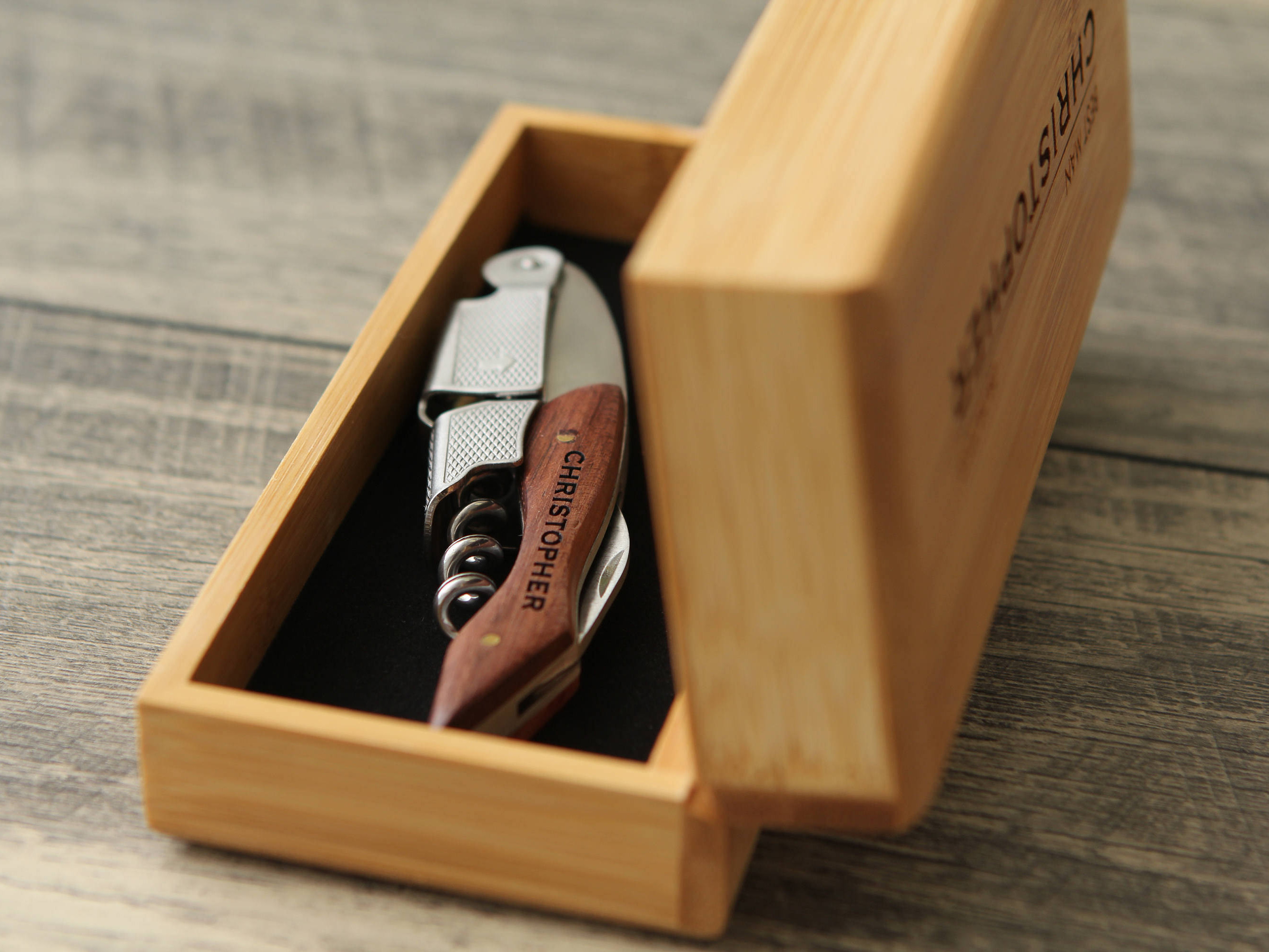 Personalized Cork Screw Engraved Bottle Opener Pocket Knife Groomsmen Gifts