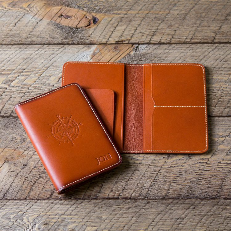 Stamped Passport Cover Holder – Vegetable Tanned Leather Passport Wallet
