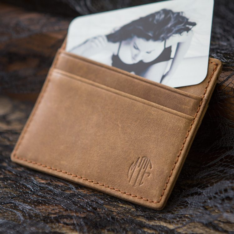Leather Card Holder Wallet with Metal Photo Card SET