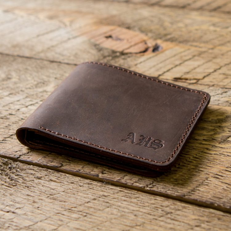 Personalized Slim Bifold Leather Wallet