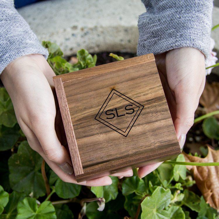 Custom Square Walnut Gift Box ( Engagement Ring Box , Small USB Box , Tiny Jewelry Gift Box , Wedding Ring Bearer Box )