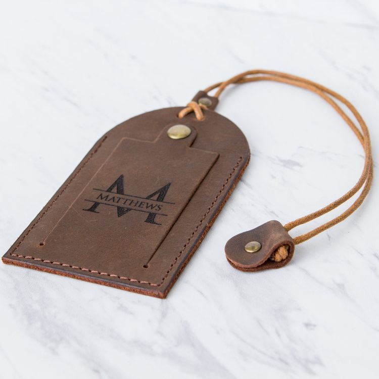 Leather Luggage Tag with Contact Info Card- Personalized  Luggage Tags with Custom Engraving – Travel Tag Accessory