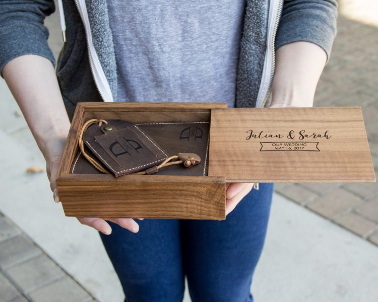 Passport Holder, Luggage Tag & Walnut Wood Gift Box Set