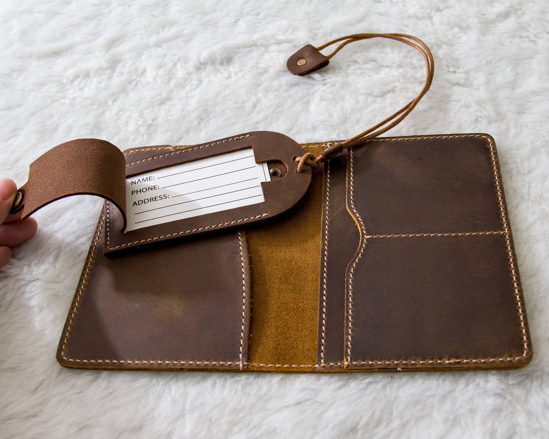 026127af87ff Passport Holder, Luggage Tag & Walnut Wood Gift Box Set