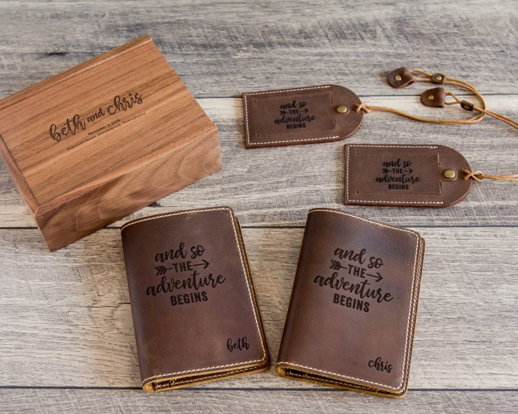 2-piece Passport Holder, 2-piece Luggage Tag & Walnut Wood Gift Box Set
