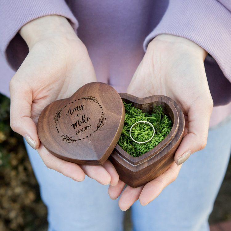 Heart Ring Box in Dark Walnut
