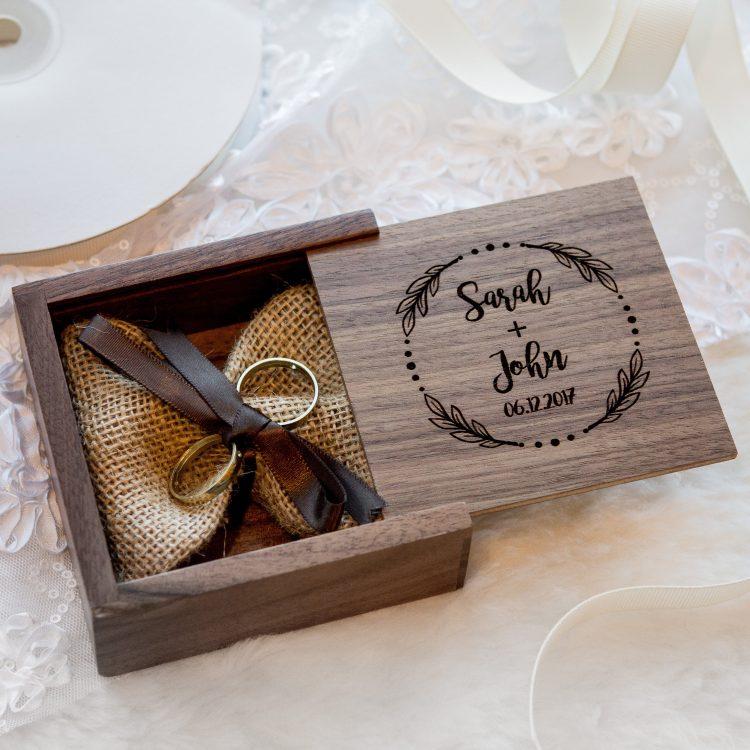 Square Walnut Ring Bearer Box