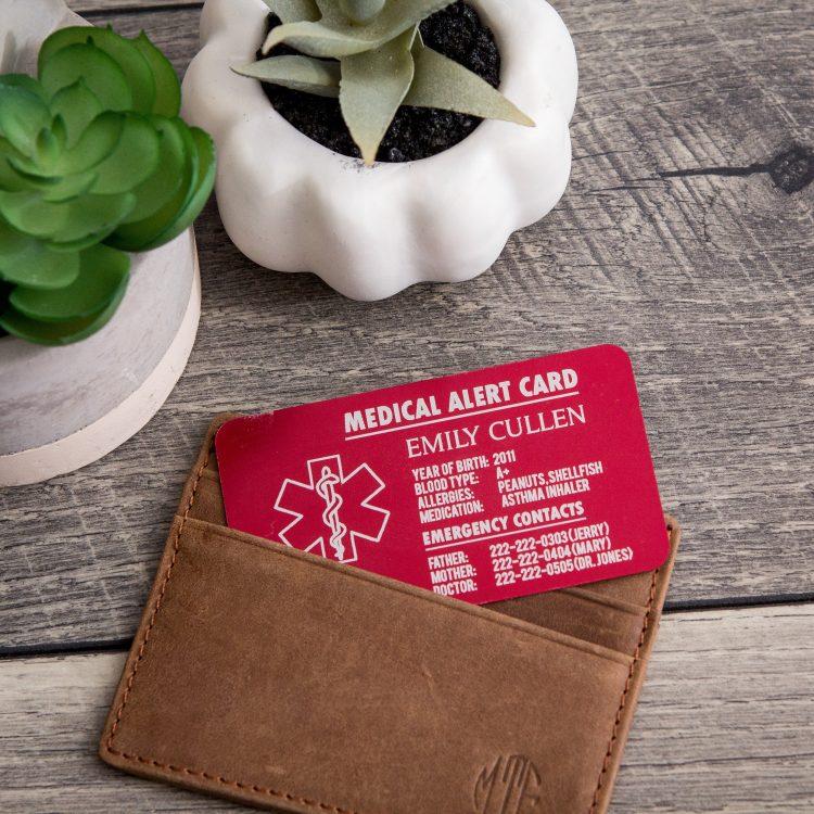 Medical Alert / In Case of Emergency Wallet Card