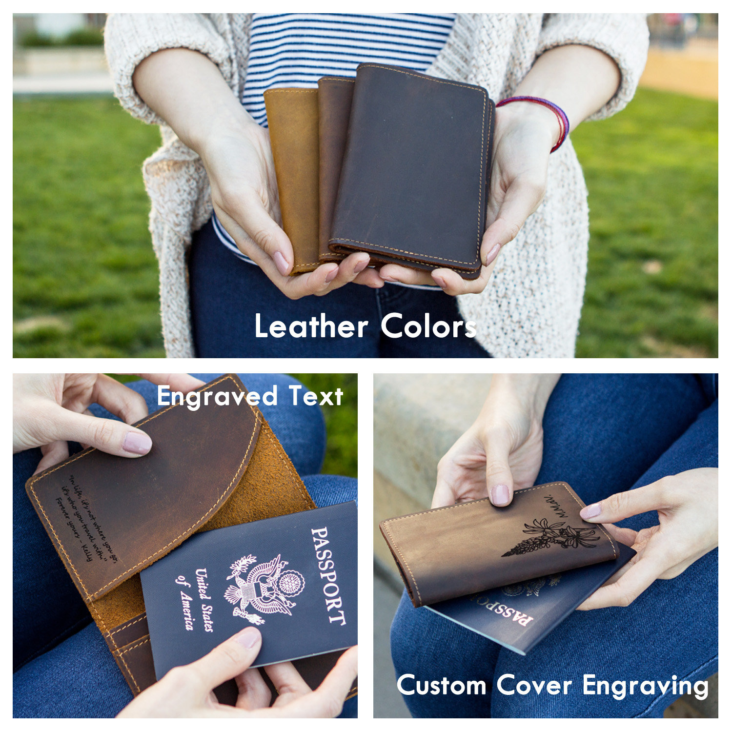 3rd Anniversary Leather Gift Boyfriend gift Engraved Passport Holder Personalized Leather Passport Cover Travel Wallet anniversry gift